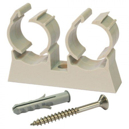 Clip de fixation/vis/cheville pour tube nu - double